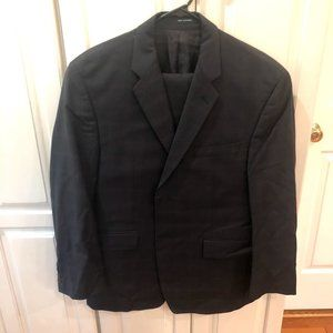 Calvin Klein Navy Blue Plaid Suit Size 40R W36